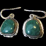 Arkie Nelson Signed Sterling Blue Green Turquoise Earrings, 13.9 grams