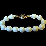 """Pretty Milk Glass 8"""" Bracelet w/ Goldtone & Faux Pearl Clasp"""