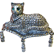 Large Avon Marcasite Cat on Tasseled Pillow Pin