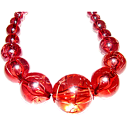 Pretty Pink Lucite Bead Necklace w/ Crackle Finish