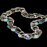 """Sodalite & Turquoise Bezel Set Tennis Bracelet, 7"""", 11 grams"""