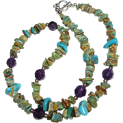 "18"" Sterling, Faceted Amethyst & Turquoise Nugget Necklace"