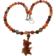 "18"" Carved Carnelian Koi Fish & Sterling Silver Necklace"