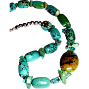 "Chinese Turquoise & Sterling Bench Bead 20"" Necklace"