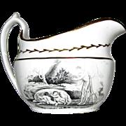 c.1820's, Staffordshire Transferware Cream Pitcher, Romulus and Remus