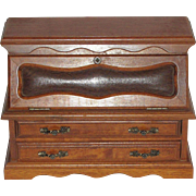 Miniature Oak Desk/Chest of Drawers for Bisque Doll, or Jewelry Box
