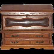 Vintage Miniature Oak Secretary Chest of Drawers, Doll House, Jewelry Box