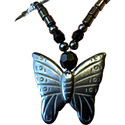 "Vintage Hematite Butterfly 16"" Pendant Necklace"
