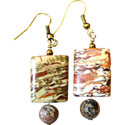 "Stylish 1 1/8"" Cut Stone Bead Earrings"