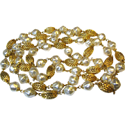 "Sophisticated 54"" Faux Pearl & Gilt Filigree Bead Necklace"