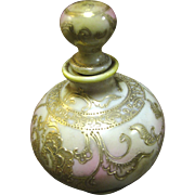Beautiful Nippon Hand Painted Perfume Bottle with Stopper Blue Maple Leaf