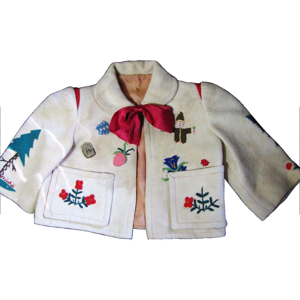 Darling Old German Appliqued Wool Jacket for Bear or Doll