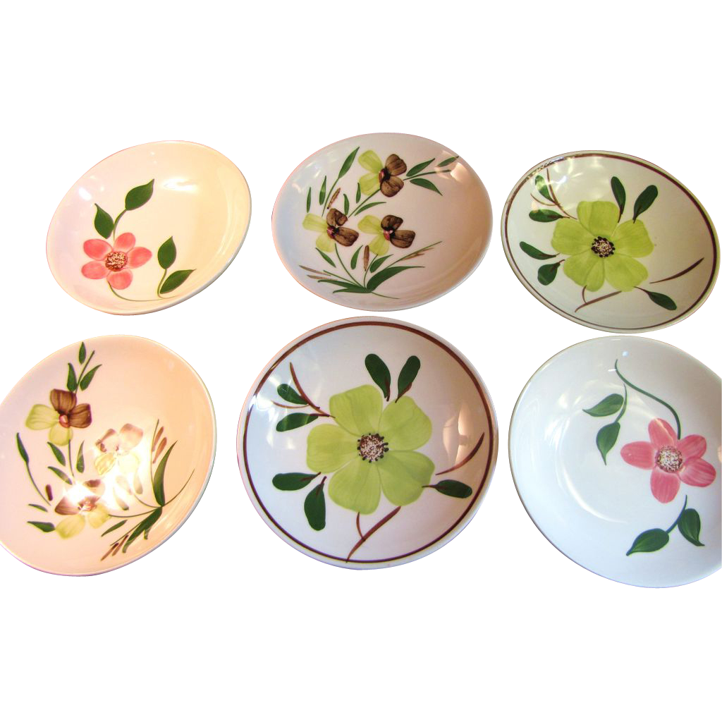 Lovely Set of 6 Blue Ridge Pottery Floral Berry Bowls