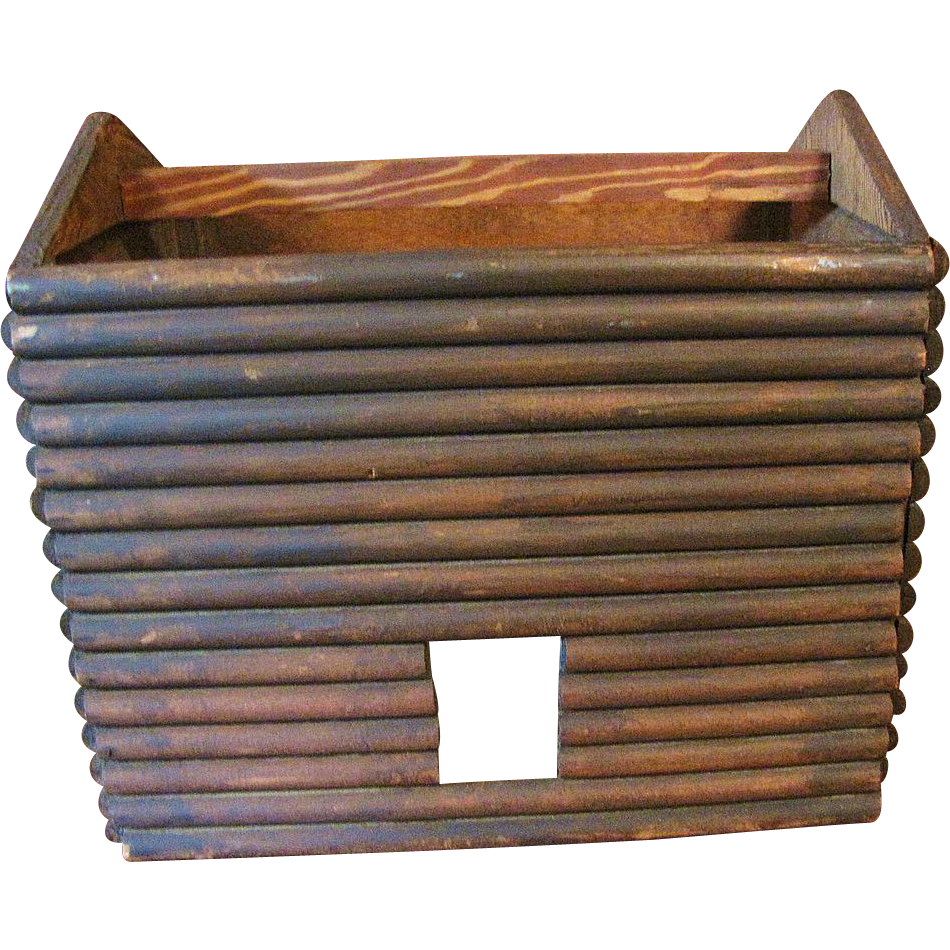 Circa 1930's Primitive Log Cabin Doll House in the form of a Basket