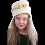 Great 1950's Cossack Inspired Cream Soft Fur Hat