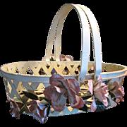 Lovely Vintage Hand Painted Metal Tole Floral Basket
