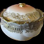 Delightful Older Vintage Gilt and Blush Pink French Powder or Trinket Box
