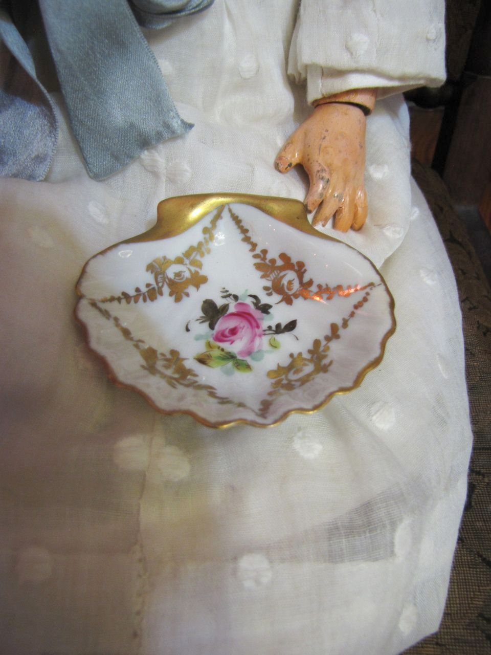 Adorable Hand Painted Limoges Shell Miniature Serving Plate