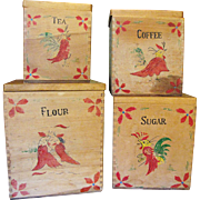 SALE Set of 4 Hand Made Hand Painted Rooster Primitive Canisters
