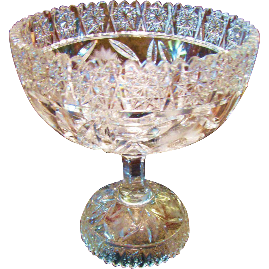 Fabulous Bohemian Hand Cut Lead Crystal Two Piece Punch Bowl