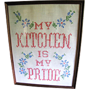 "Homey Cross Stitch ""My Kitchen is My Pride"" Vintage Picture"