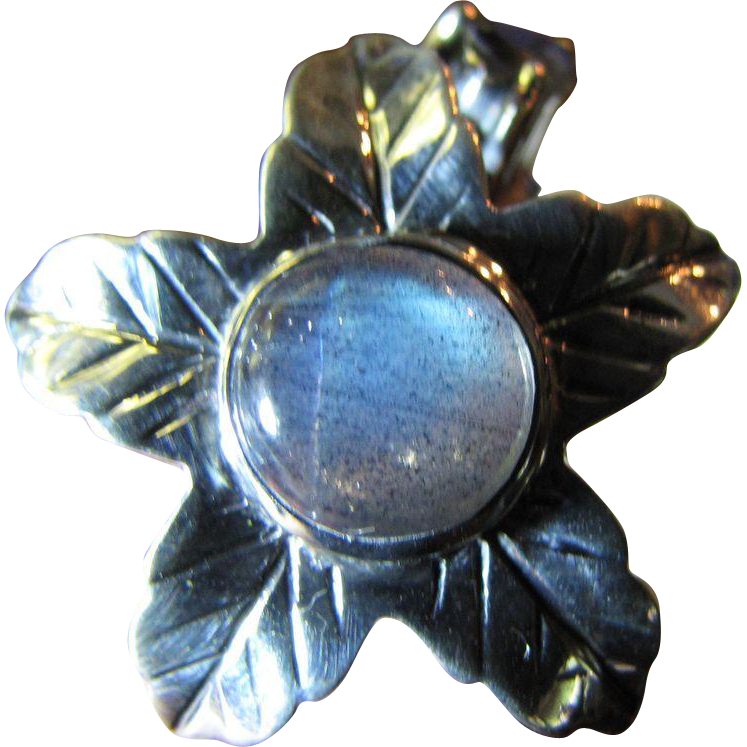 Beautiful Labradorite & Iolite Sterling Silver Hand Crafted Flower Ring SZ 7