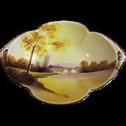 """Noritake """"Tree In The Meadow"""" Small Handled Dish 1918, Beautiful"""