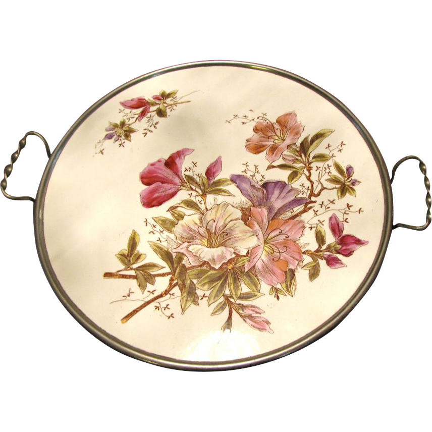 """Max Dannhorn Antique Hand Decorated 12"""" Porcelain Handled Butlers Tray"""