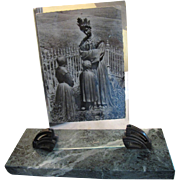 Superb 1930's French Art Deco Marble and Bronze Photo Frame