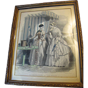 "Circa 1840's ""Le Moniteur de la Mode"" Original Framed Fashion Plate"