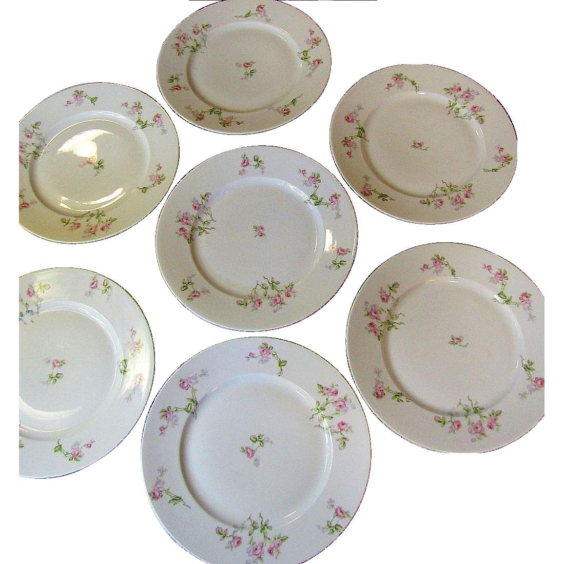 Lovely Set of Seven Redon French Limoges Dinner Plates