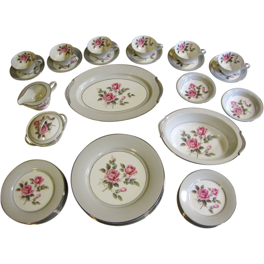 Beautiful 36 Piece Noritake Arlington Dinner Service (6 Places Plus Servers)