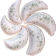 Nice Set of 6 Victorian Floral Spray Bone Dishes by Meroer
