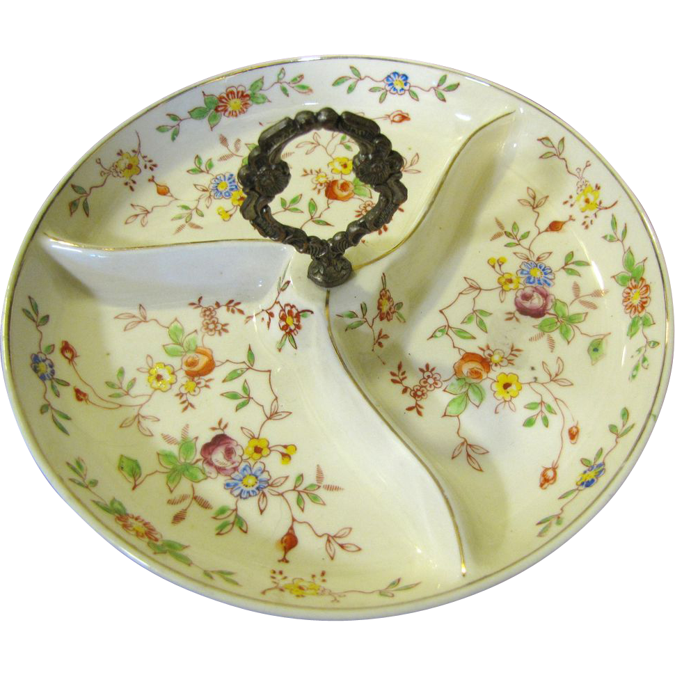 Lovely Vintage Small Floral Hand Painted Server, Made in Japan