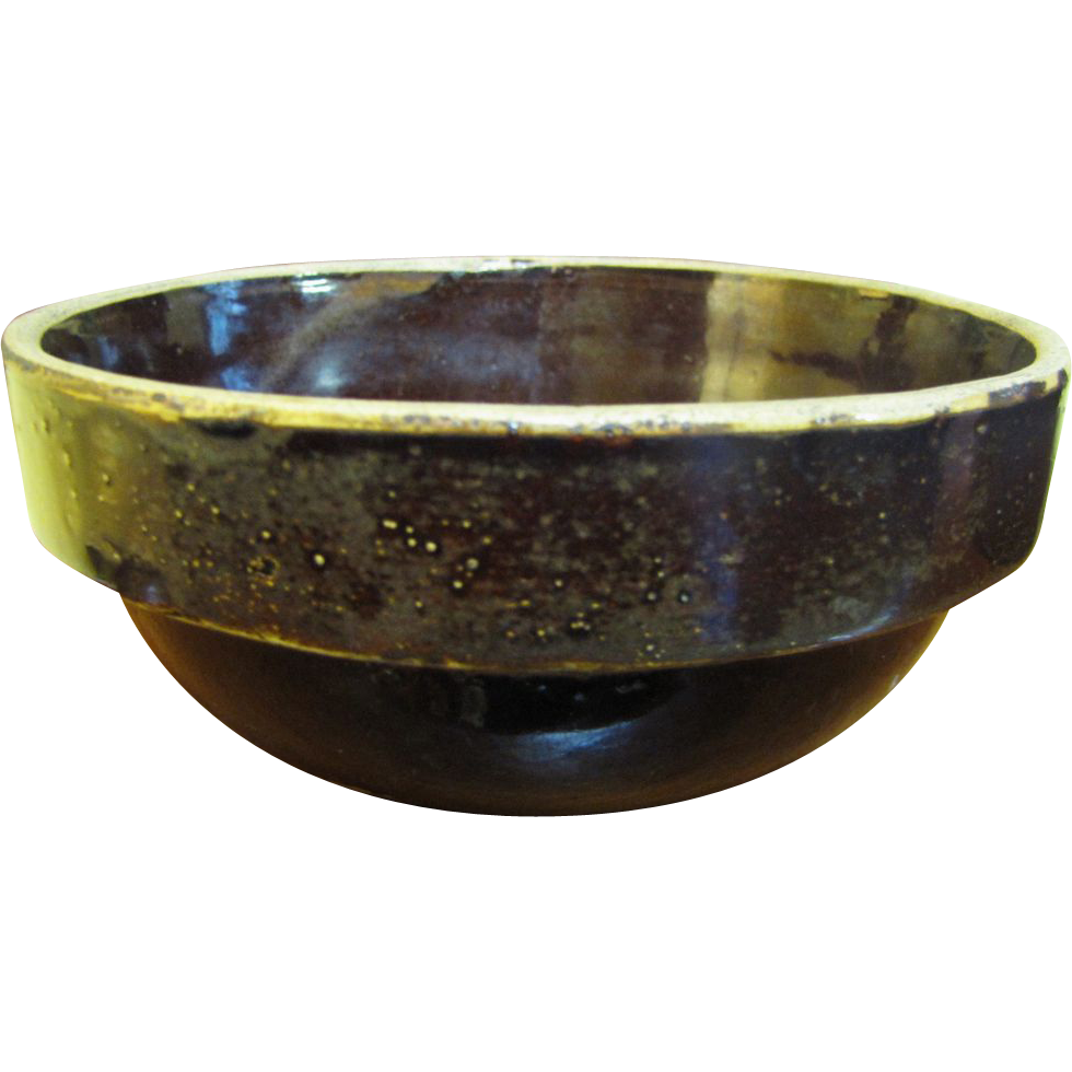 19th Century Stoneware Alkaline Glazed Bowl made in South Carolina or Near Regions