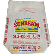 Vintage Sunbeam Unused 2lb Paper Flour Bag Bishopville SC