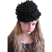 Summer Pretty Summer Witty 1950's Curly Raffia Bowler Hat