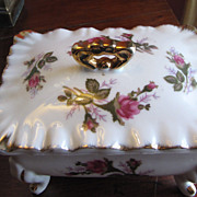 Beautiful Moss Rose Gilt Footed Trinket Box Mid Century Japan