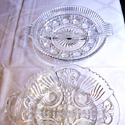 Great Pair of Vintage Pressed Glass Divided Relish Dishes