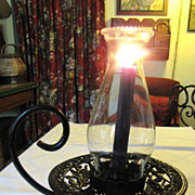 Beautiful Victorian Revival Vintage Cast Metal Hurricane Candle Holder