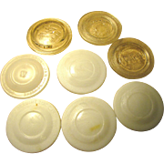 Mixed Vintage Collection of 8 Old Clear and Milk Glass Canning Lids