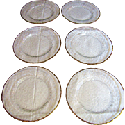 Nice Set of 6 French Glcoloc Gilt Crystal Salad Plates