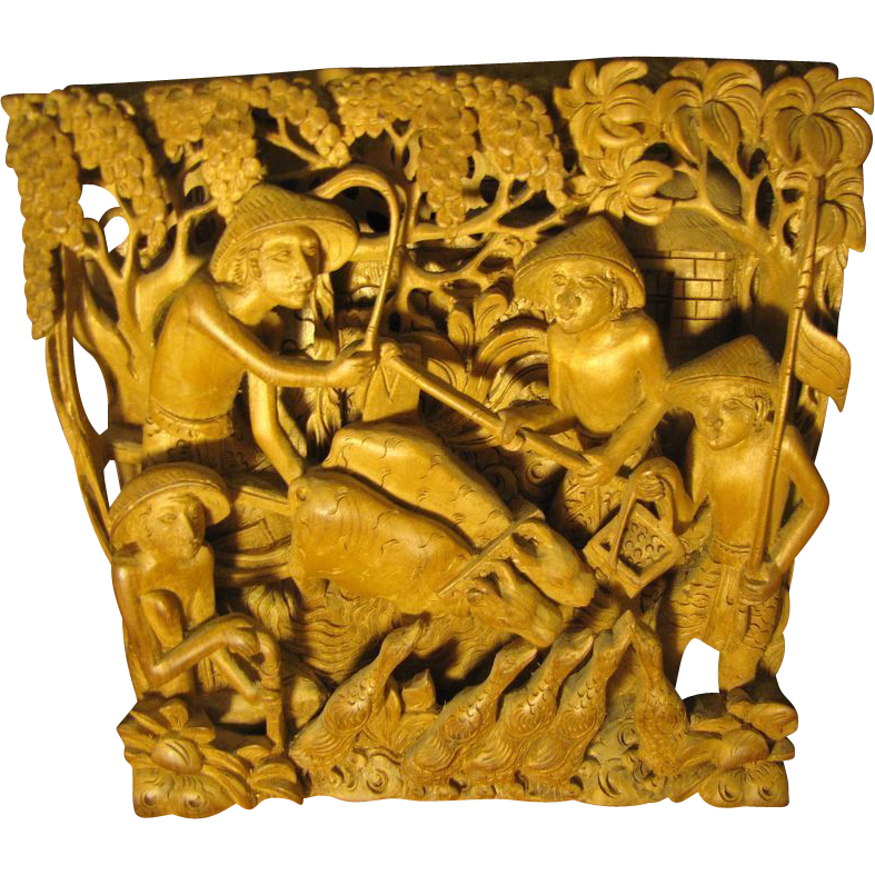 Deep Relief Asian Carving, Men, Birds, Cattle, Stunningly Three Dimensional!