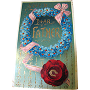 Love to Dear Father Attractive German Card, Circa early 20th C.