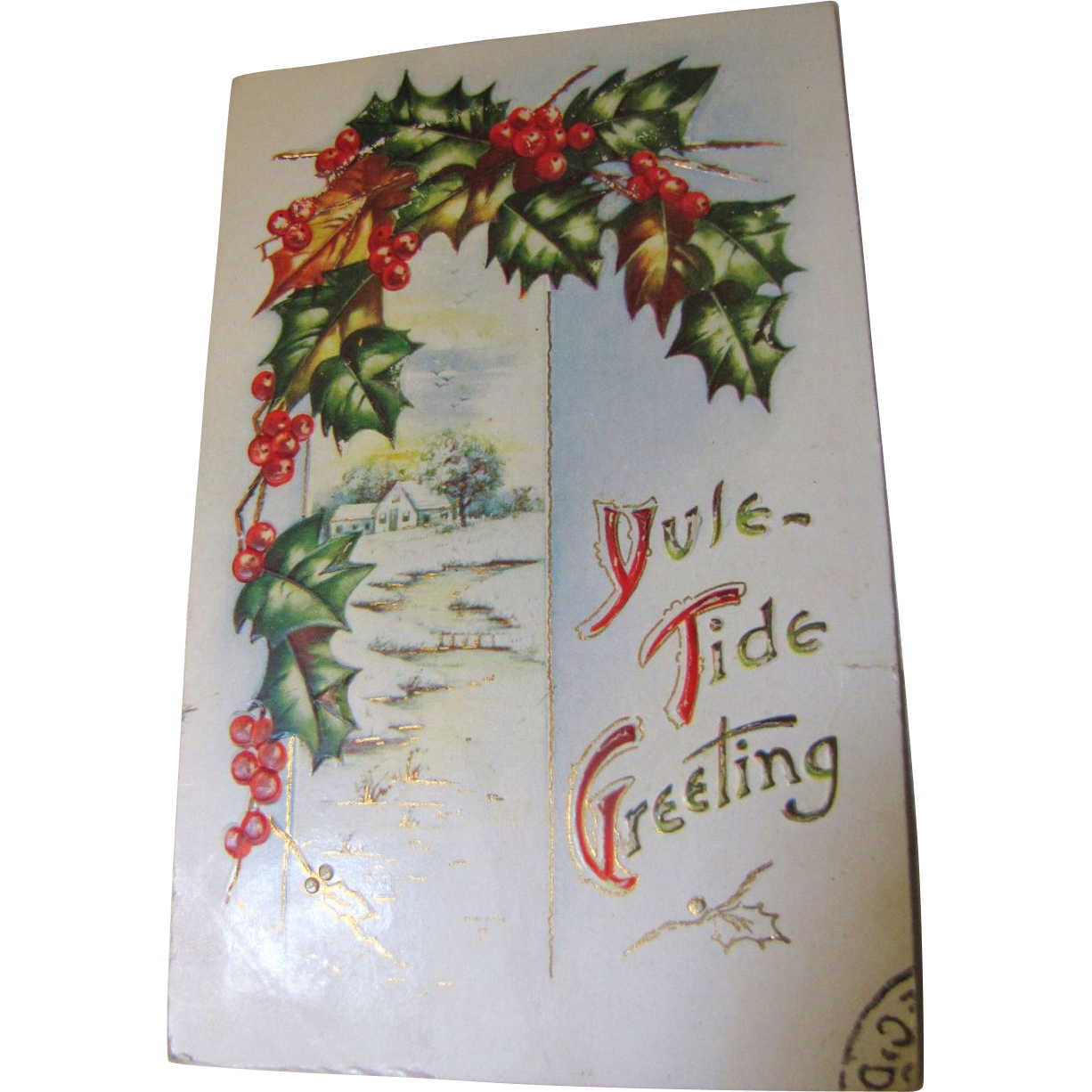 Yule-Tide Greeting Embossed PostCard circa early 20th Century, Christmas Card‏