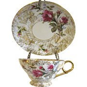 Prettiest Gilt Moss Rose Cup and Saucer, 1950's Japan