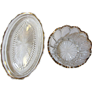 Great Pair Early Pressed & Gilt Glass Snack, Relish or Candy Dishes