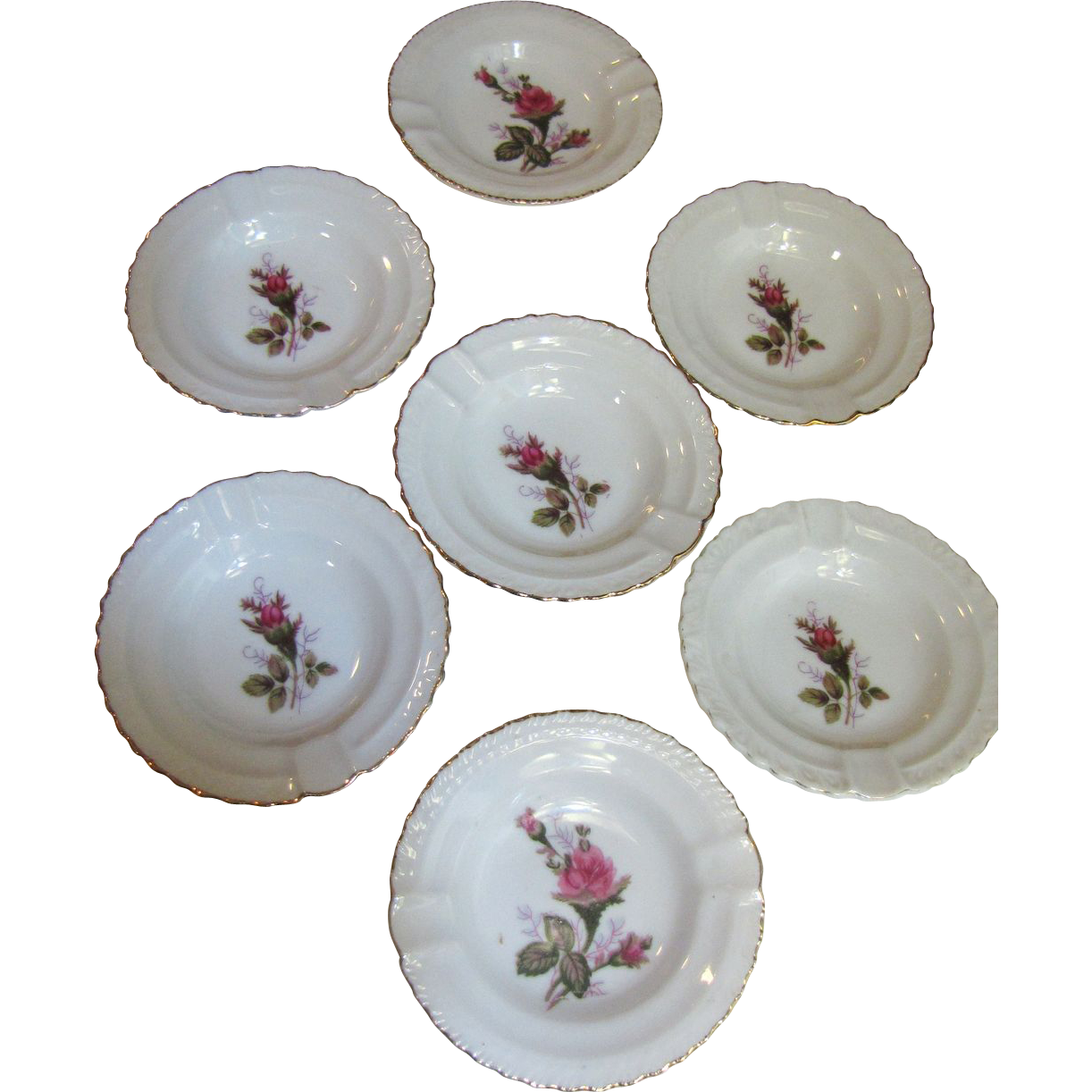 Set of 7 Moss Rose Pattern Ashtrays, Mid Century Japan