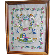 Lovely Hand Embroidered Crewel Work Picture, Baby In Crib, Perfect Shower Gift!