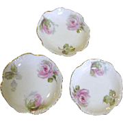 Beauiful Set of 3 Rose Decorated Antique Butter Pats